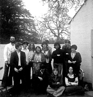 Again outside the studio with most of the first year painting students here. Back row. ?, Trevor Shearer, Nick Gammon, Ben Averis, Ceri Davis( I think? did ceramics?), Peter?, Glimpsed behind can just be seen Peter Wells & Hugh Hales Took, Trevor Richards, Duncan Clarke, Rosey Jones & Jackie Alden. Front row. Rosie Ritchie, Angela Sears, Anna Dutto.