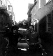 Me & Tom Brammer pose in front of mercedes benz parked in Church Street.