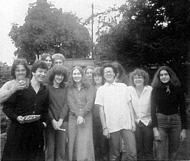 A group of mainly graphics students on the occasion of Rogers 18th birthday taken in the back garden of 5 Church Street?