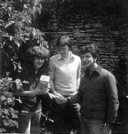 In the back yard of 2 Church Street. Me with loaf, Rogers friend Chris (visitor), Roger.