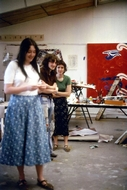 The girl behind me is Liz, the girl in front could be Heather?, both were 3rd year sculpture students?, & this is the 3rd year painting studio?, which I worked in the following year.