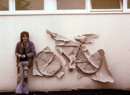 Outside by the side of the 3rd year painting studio?, with a rubbing of my bicycle done on the spur of the moment.
