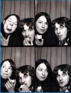 Chloe Tarling & me eating granny smith apples in a photo booth somewhere.  Chloe was a second year painting student who shared a small corner of the 3rd year painting studio that Rosie Ritchie & myself did our best to completely take over.
